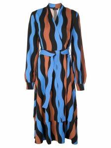 Stine Goya wave pattern wrap dress - Blue