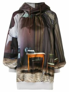 Undercover oversized drawstring hoodie - Brown