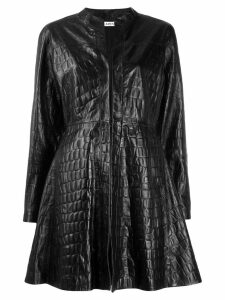 Amen embossed croc effect coat - Black