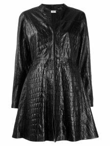 Amen embossed croc effect coat - Black