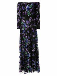 Tadashi Shoji floral evening dress - Black