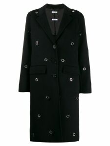 P.A.R.O.S.H. Eyelet single-breasted coat - Black
