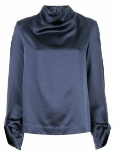 Dion Lee draped silk blouse - Blue