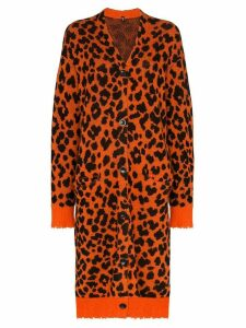 R13 leopard print cashmere cardigan-dress - Orange