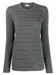 Brunello Cucinelli sequin stripes jumper - Grey