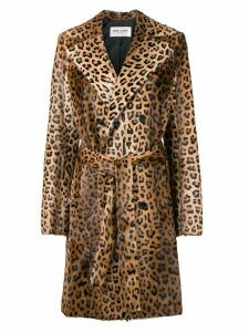 Saint Laurent leopard print trench coat - Brown