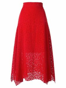 Goen.J asymmetric lace skirt - Red