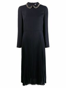 Red Valentino crystal-embellished pleated dress - Blue