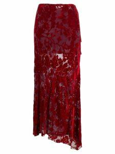 Ann Demeulemeester floral devore skirt - Red