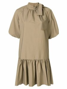 Goen.J balloon sleeve mini dress - Brown