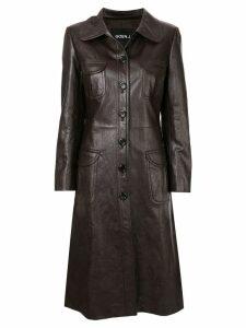 Goen.J Geiza vegan leather coat - Brown