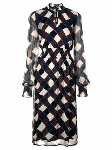 Baum Und Pferdgarten harlequin check sheer dress - Blue