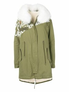 Mr & Mrs Italy graphic print mid-length parka - Green