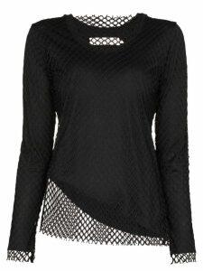 Marques'Almeida net overlay long-sleeve top - Black