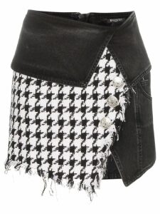 Balmain houndstooth denim wrap mini-skirt - Black