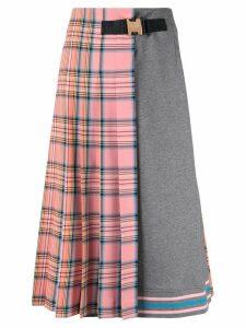 Vivetta tartan print half pleated skirt - Pink