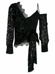 Self-Portrait asymmetric off-shoulder blouse - Black
