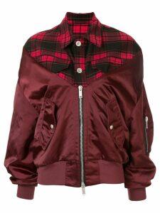 Unravel Project tartan hybrid bomber jacket - Red