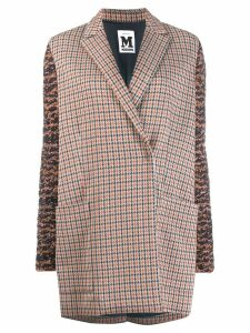 M Missoni panel sleeve houndstooth coat - Grey