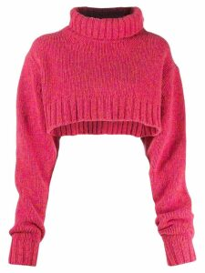 Y's cropped roll neck jumper - Pink