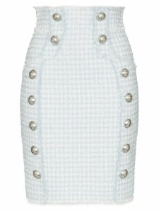 Balmain buttoned tweed pencil skirt - Blue