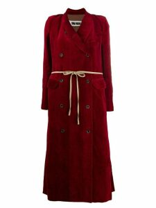 Uma Wang long velvet double-breasted coat - Red