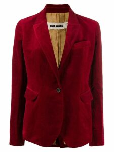 Uma Wang velvet slim-fit blazer - Red