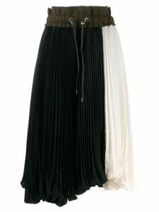 Sacai color-block pleated skirt - Black