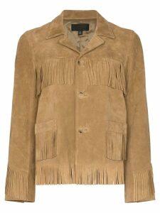 Nili Lotan Frida suede fringed jacket - Neutrals