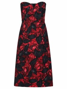 Prada Dark Rose print Cady dress - Red