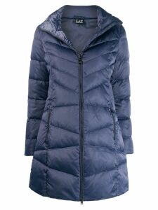 Ea7 Emporio Armani quilted fitted coat - Blue
