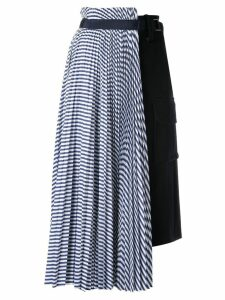 Sacai striped hybrid skirt - Blue