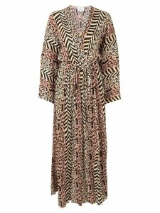 Nanushka belted animal print dress - Brown