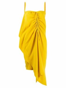 McQ Alexander McQueen ruched drape asymmetric dress - Yellow