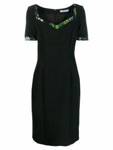 Blumarine floral-trimmed midi dress - Black