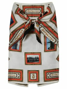 Burberry Scarf Detail Archive Scarf Print Silk Pencil Skirt - Red