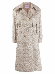 Alexa Chung snakeskin print trench coat - Brown