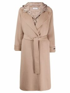 Peserico hooded mid-length coat - Neutrals