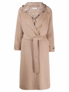 Peserico hooded mid-length coat - NEUTRALS