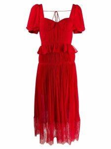 Self-Portrait short-sleeved chiffon midi dress - Red