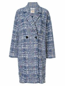 Coohem autumn check tweed coat - Blue