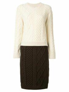 Coohem aran patchwork jumper - White