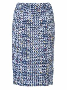Coohem autumn check tweed skirt - Blue
