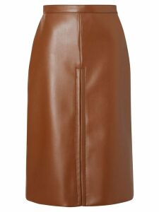 Burberry Box Pleat Detail Faux Leather Skirt - Brown
