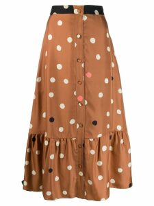 Chinti & Parker polka dot midi skirt - Brown