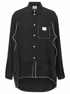 Burberry Piping Detail Crepe De Chine Oversized Shirt - Black