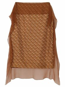 Burberry Scarf Detail Monogram Print Silk Pencil Skirt - Brown