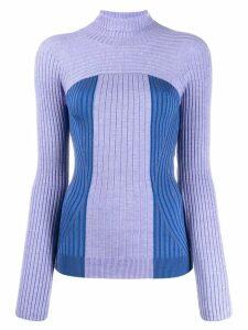 Mugler ribbed knit turtleneck sweater - Purple