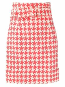 Sara Battaglia houndstooth skirt - ORANGE