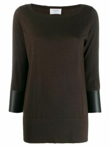 Snobby Sheep leather trim jumper - Brown